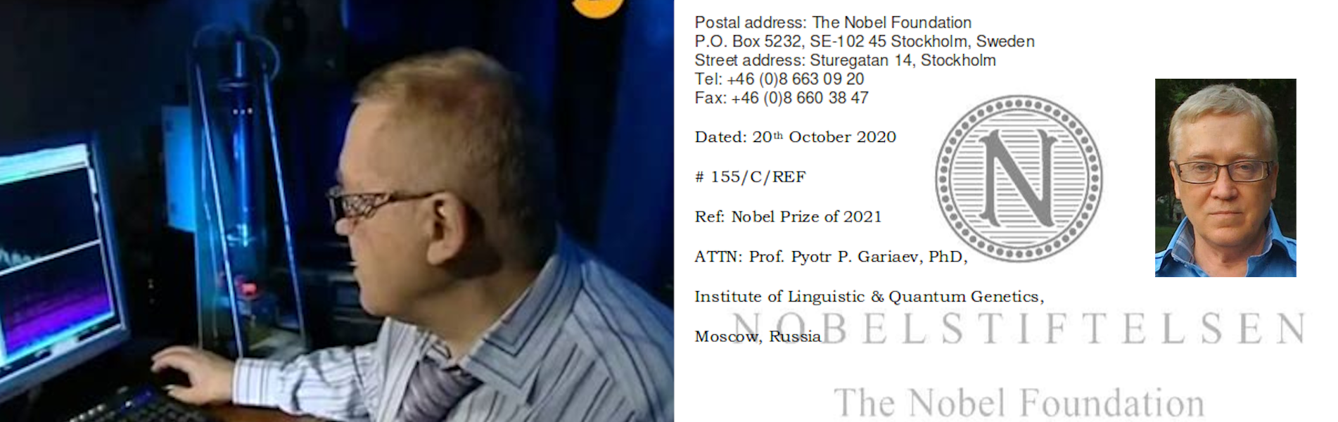 Prof. Peter P. Garyaev je nominován na Nobelovu cenu za medicínu, která se bude konat v roce 2021.